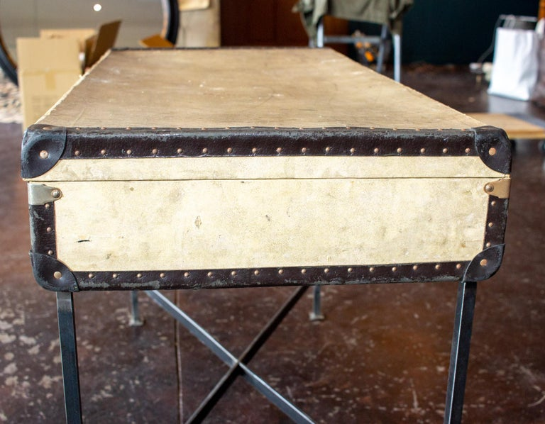 Side Table Crafted with Vintage French Luggage and Custom Iron Base For Sale 1