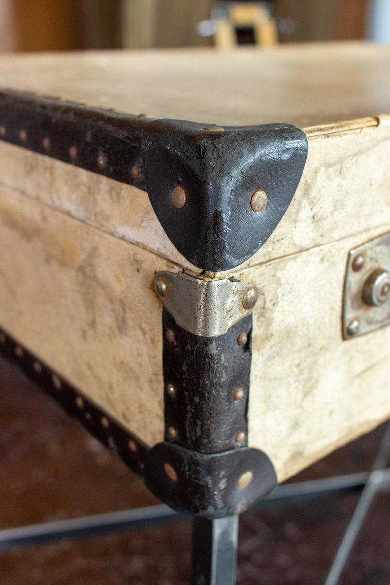 Side Table Crafted with Vintage French Luggage and Custom Iron Base For Sale 2