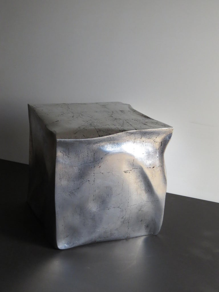 Organic Modern Side Table Cube in Organic Silvered Design Handmade in Germany For Sale