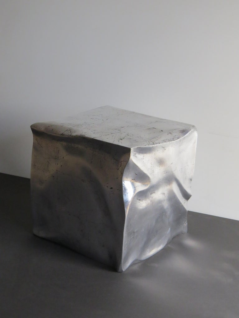Hand-Crafted Side Table Cube in Organic Silvered Design Handmade in Germany For Sale