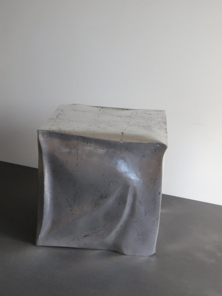 Side Table Cube in Organic Silvered Design Handmade in Germany In New Condition For Sale In Dietmannsried, Bavaria