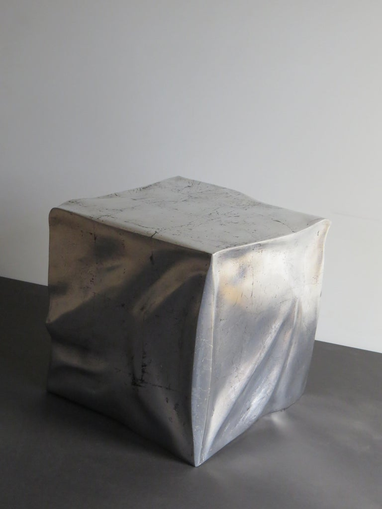 Contemporary Side Table Cube in Organic Silvered Design Handmade in Germany For Sale