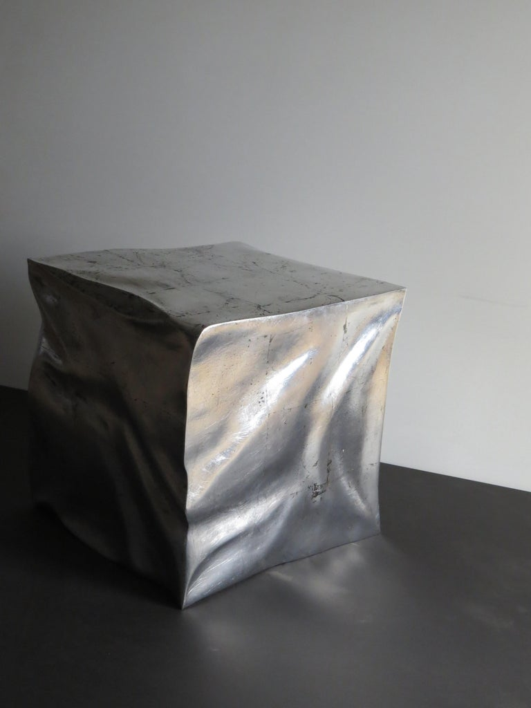 Silver Leaf Side Table Cube in Organic Silvered Design Handmade in Germany For Sale