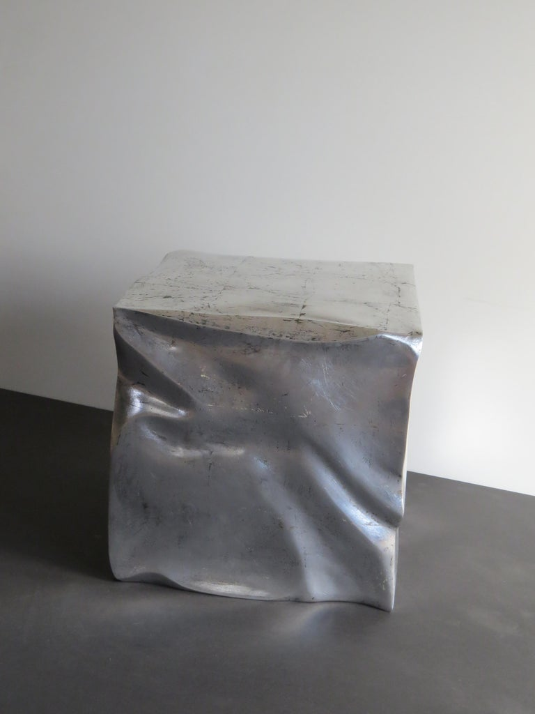 Side Table Cube in Organic Silvered Design Handmade in Germany For Sale 1