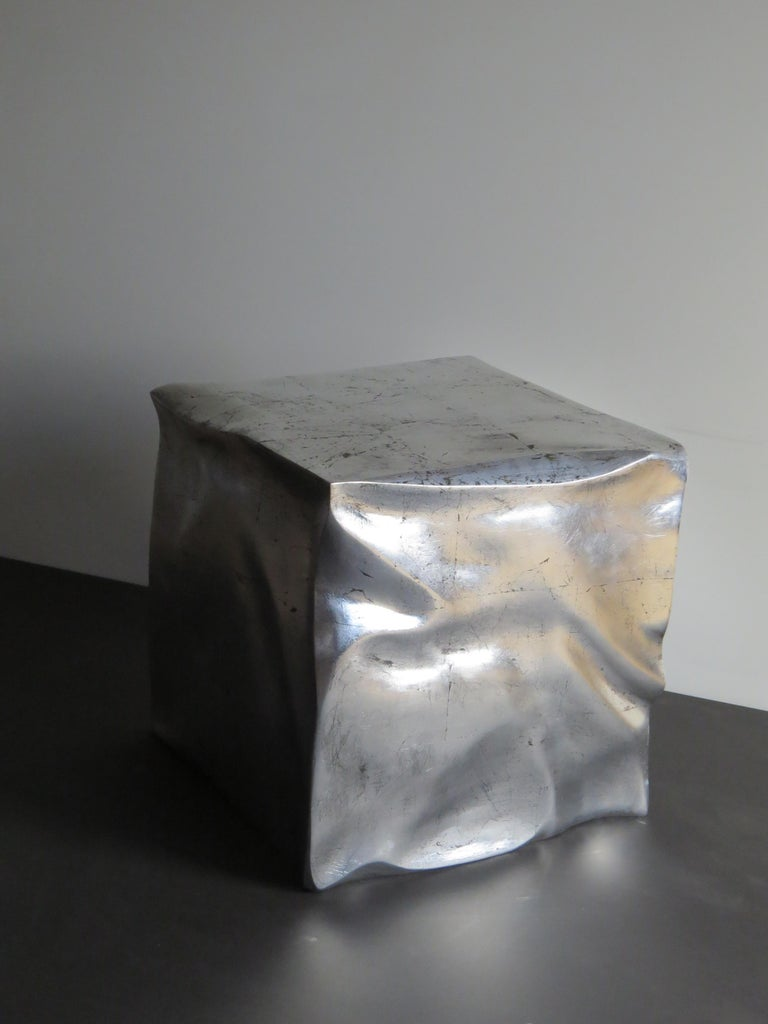 Side Table Cube in Organic Silvered Design Handmade in Germany For Sale 2