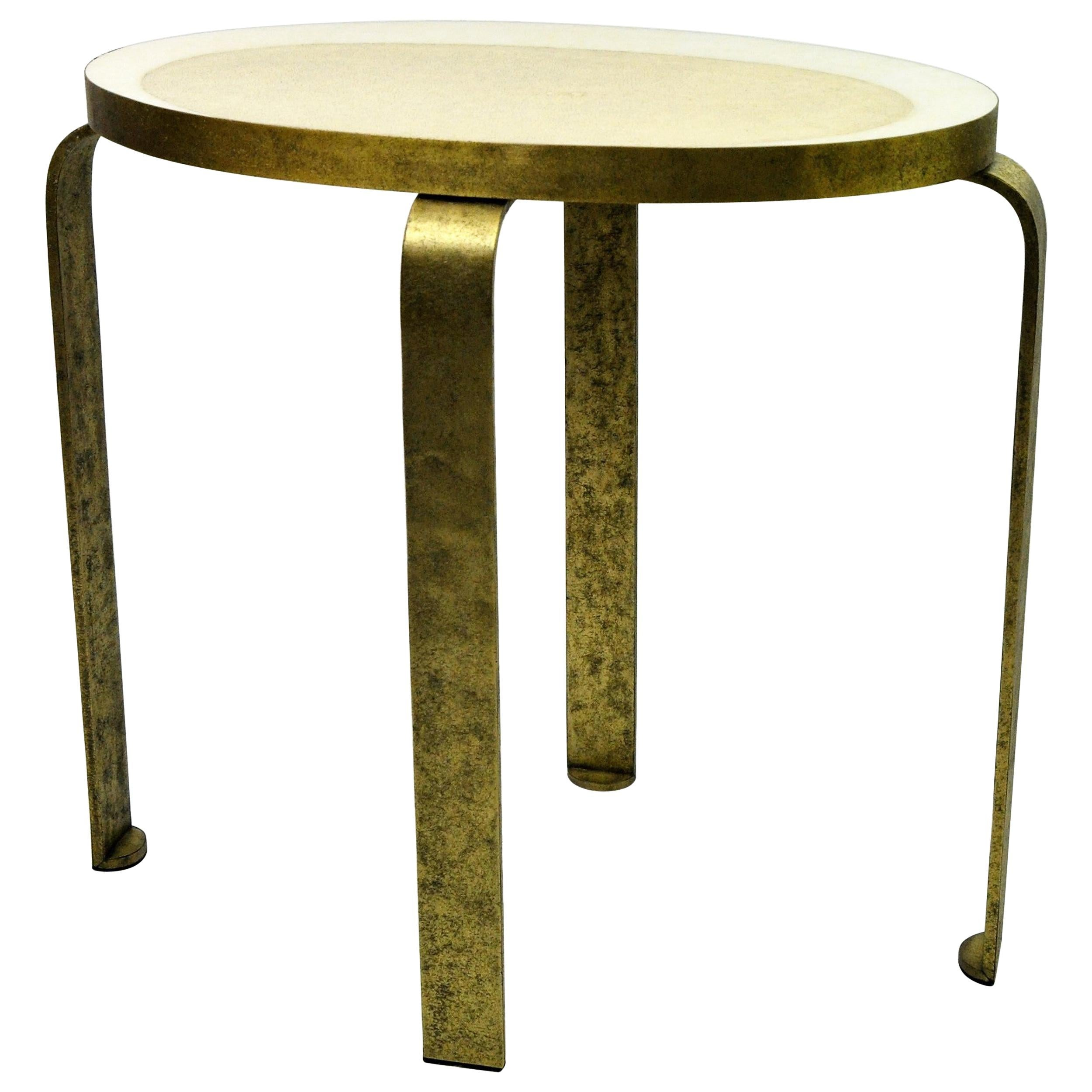 Side Table Eliptus in Shagreen and Textured Brass by Ginger Brown