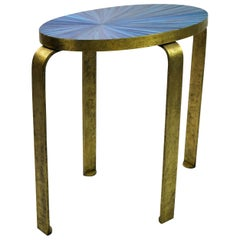 Side Table Eliptus in Straw Marquetry and Textured Brass by Ginger Brown