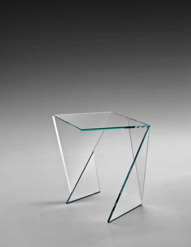 Modern Side Table End Table Glass Crystal Limited Edition Contemporary Italian Design For Sale