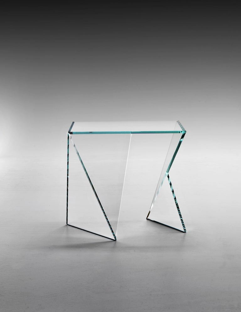 Hand-Crafted Side Table End Table Glass Crystal Limited Edition Contemporary Italian Design For Sale