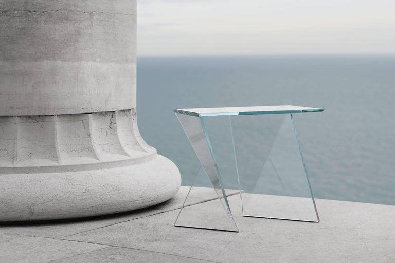 Side Table End Table Glass Crystal Limited Edition Contemporary Italian Design In New Condition For Sale In Ancona, Marche