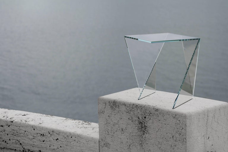 Side Table End Table Glass Crystal Limited Edition Contemporary Italian Design For Sale 1