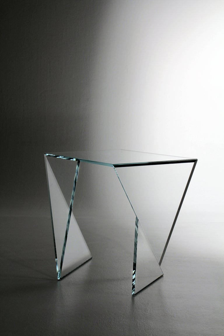 Side Table End Table Glass Crystal Limited Edition Contemporary Italian Design For Sale 2
