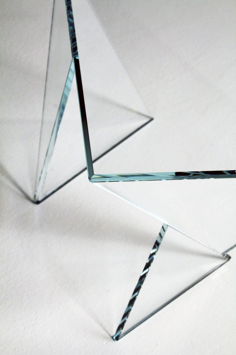Side Table End Table Glass Crystal Limited Edition Contemporary Italian Design For Sale 3