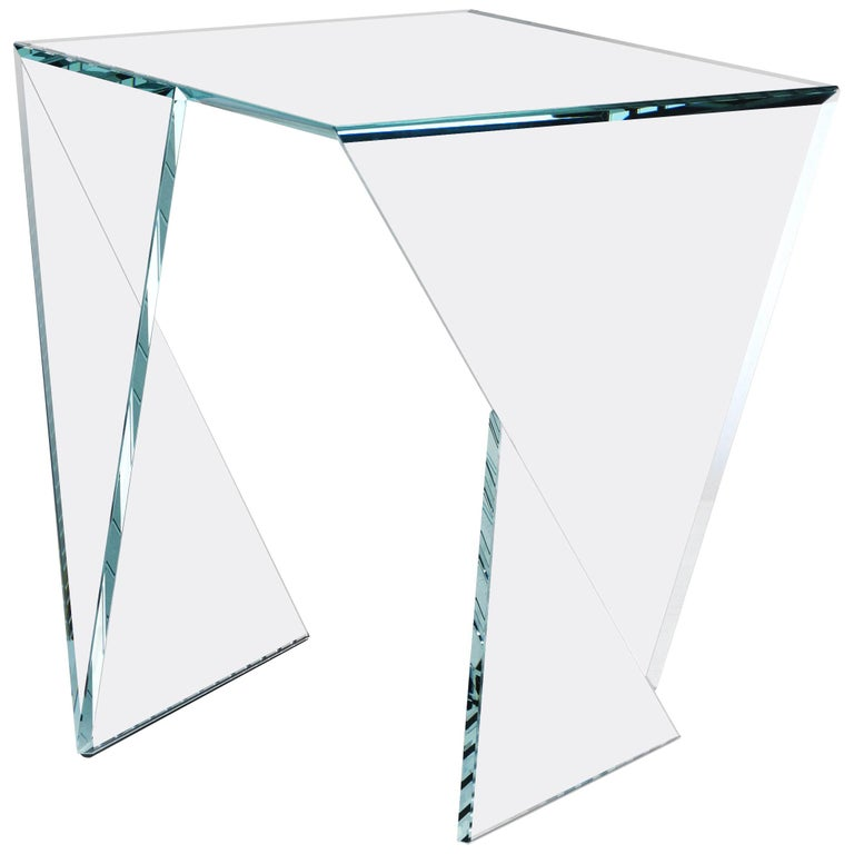 Side Table End Table Glass Crystal Limited Edition Contemporary Italian Design For Sale