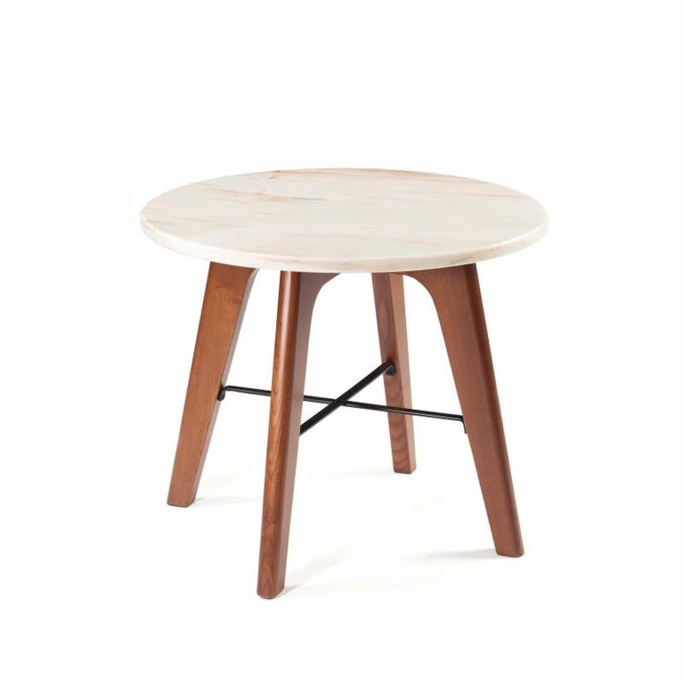 Solid wooden base shaped elegantly, completed with a lacquered metal structure, receives a tabletop in lacquered mdf. This table's combination of materials turn this side table in a fun and functional piece. Made to Order.   For sales with delivery
