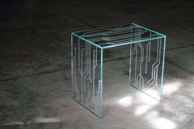 Side Table Glass Crystal Italian Contemporary Design For Sale 6