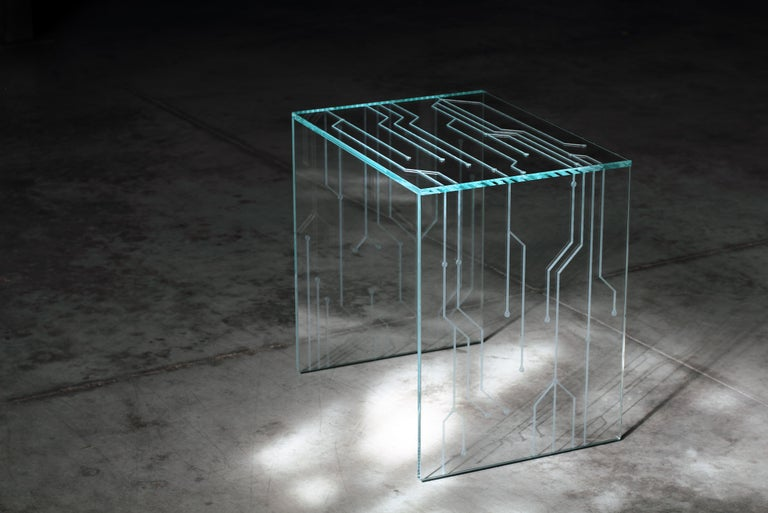 Side Table Glass Crystal Italian Contemporary Design In New Condition For Sale In Ancona, Marche