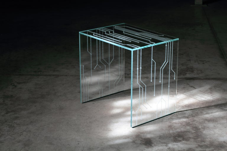 Side Table Glass Crystal Italian Contemporary Design For Sale 1