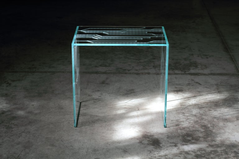 Side Table Glass Crystal Italian Contemporary Design For Sale 2