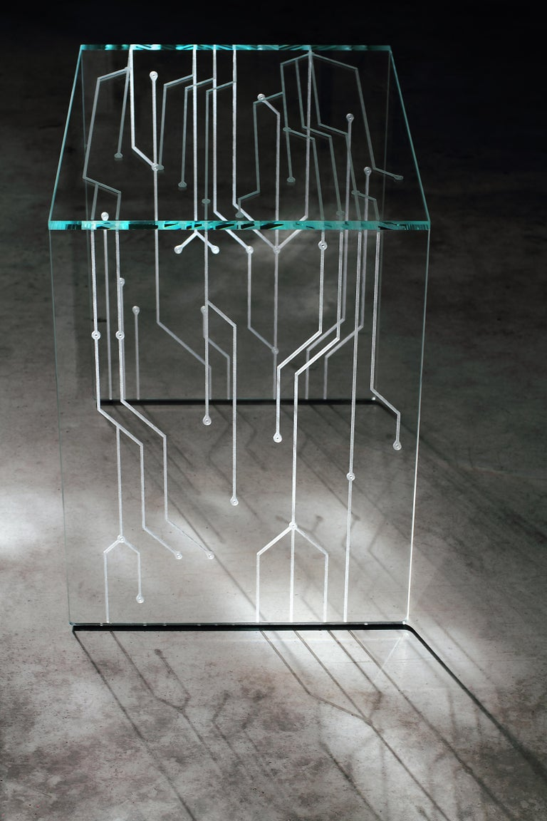 Side Table Glass Crystal Italian Contemporary Design For Sale 3
