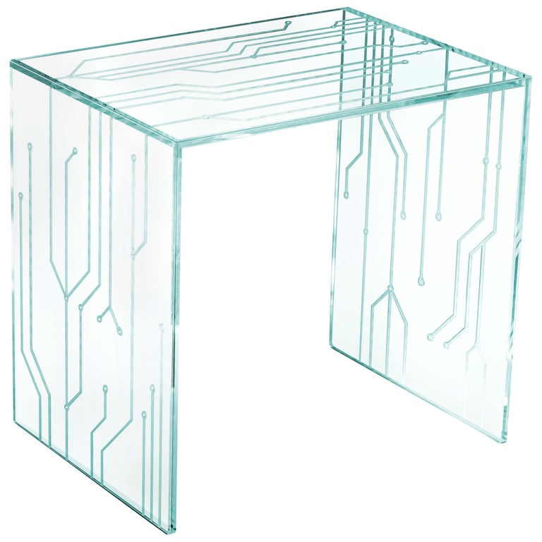 Side Table Glass Crystal Italian Contemporary Design For Sale