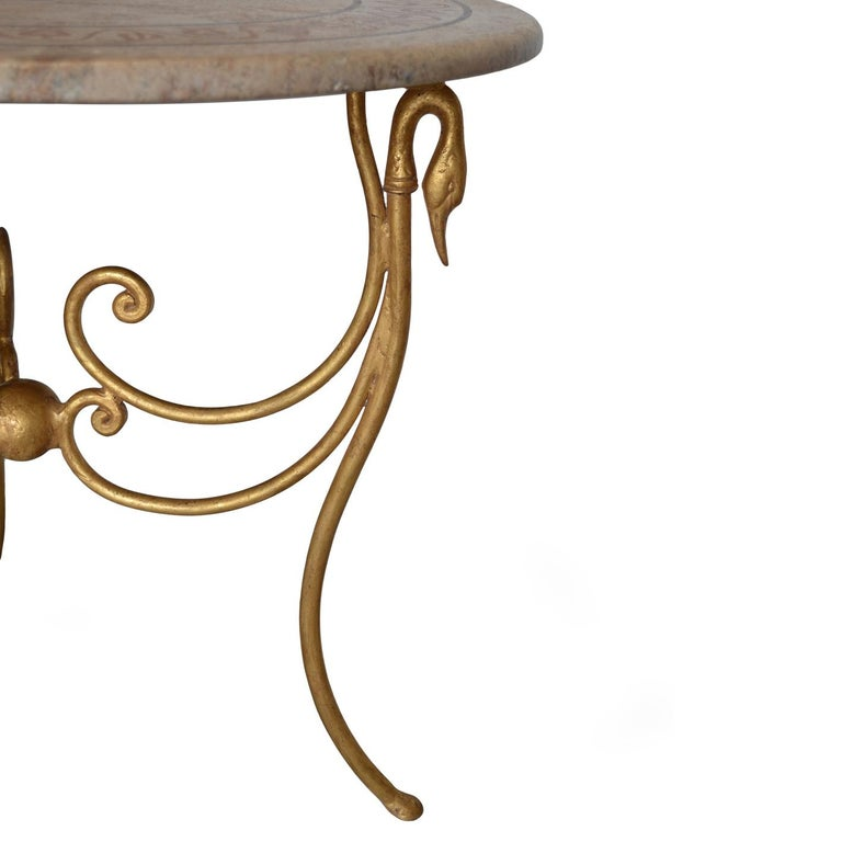 Italian Side Table Gueridon Travertine Inlaid Top Iron Base Gold Leaf Finish For Sale