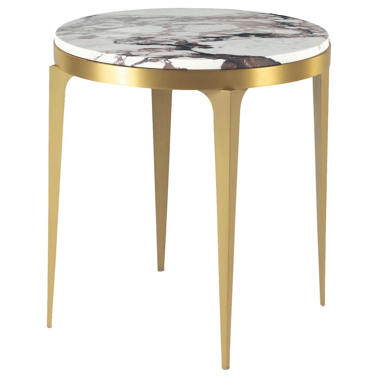 Side Table in Brass and Marble