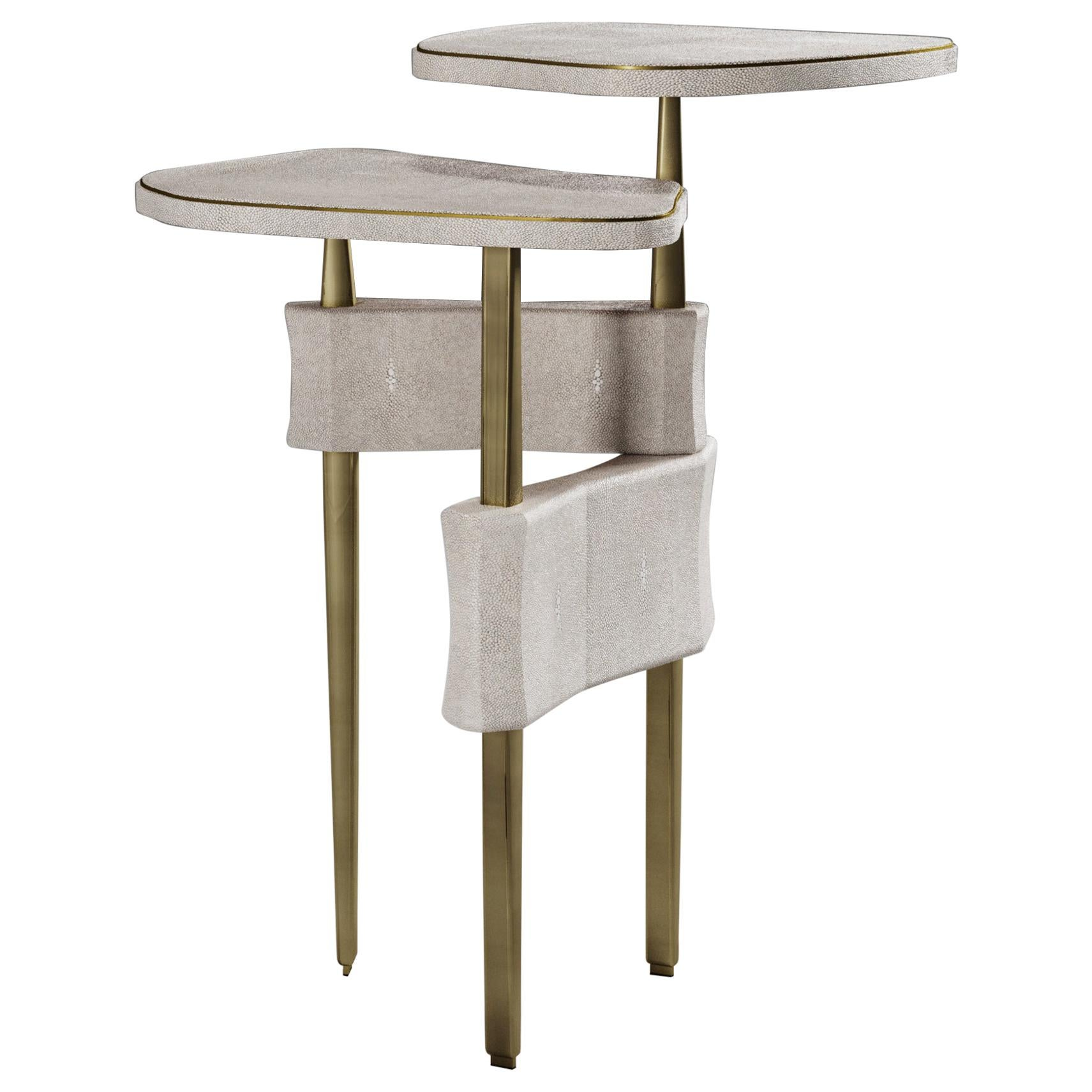 Side Table in Cream Shagreen and Bronze Patina Brass by Kifu Paris
