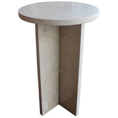 Side Table in Cross Fitted, Lagos Azul Limestone