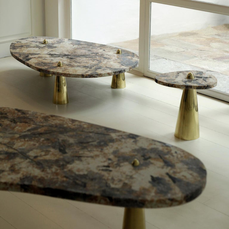 Brutalist Side Table in Granite and Cast Brass For Sale