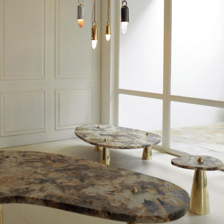 Brazilian Side Table in Granite and Cast Brass For Sale