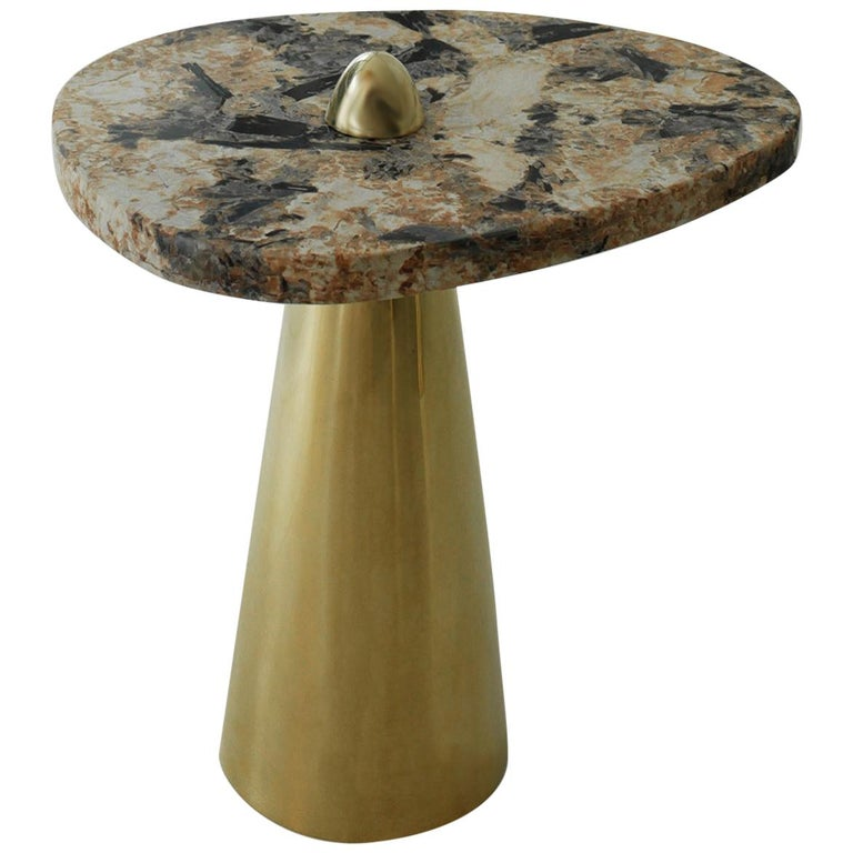 Side Table in Granite and Cast Brass For Sale