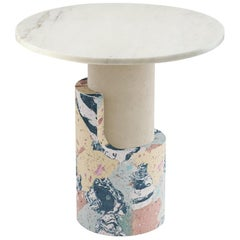 Side Table in Marbled Cement and Marble Braque Beige