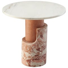 Side Table in Marbled Cement and Marble Braque Blossom