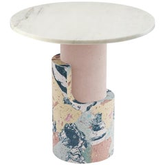 Side Table in Marbled Cement and Marble Braque Rose