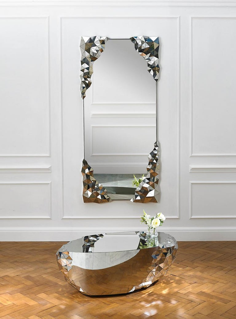 Modern Geometric Side Cocktail Table in Mirror Polished Steel,
