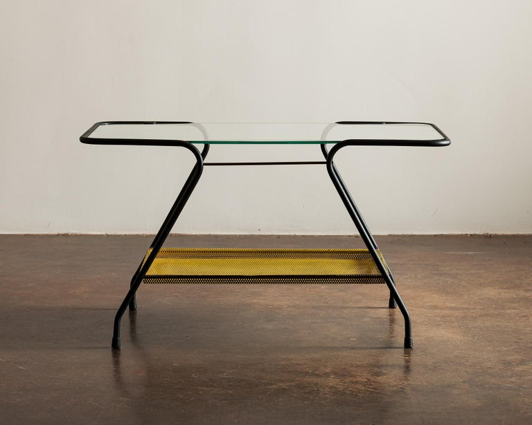 Lacquered Side Table in the Style of Mathieu Matégot, France 1950s For Sale