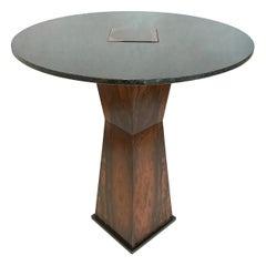 Side Table in Zircote Wood, Absolute Black Granite and Blackened Steel