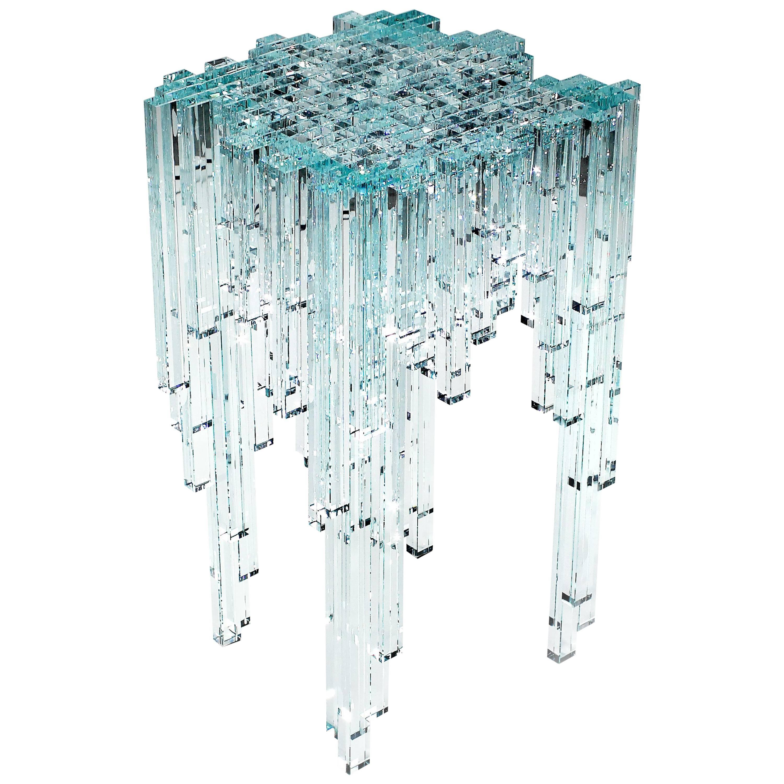Side Table Jewel Contemporary Square Crystal Glass