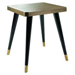 Side Table Legs Lacquered Woods Metal Feet Caps Custom Top Ebony Vetrite Mirror