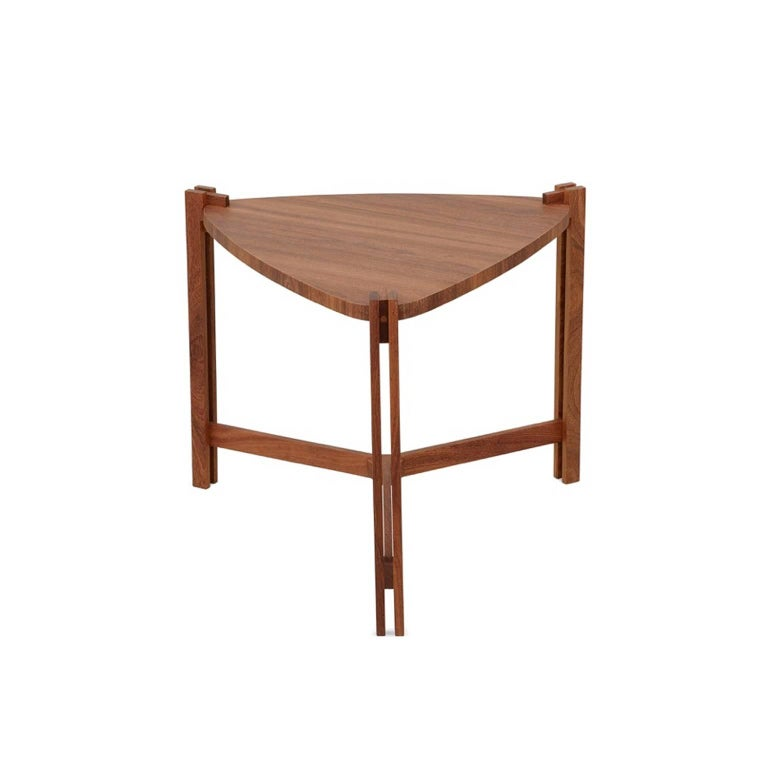 The side table LLAC can be used in living room, library, reception, office, entrance hall, bedrooms, entertainment room. The base is made in solid Brazilian wood Cumaru with traditional joint techniques. The table top is veneered with natural wood.