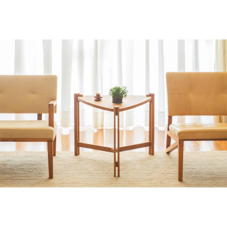 Wood Side Table Llac Made of Tropical Hardwood in Brazilian Contemporary Design For Sale