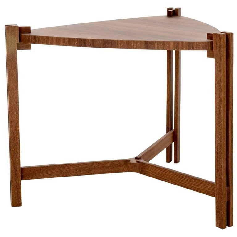Side Table Llac Made of Tropical Hardwood in Brazilian Contemporary Design For Sale