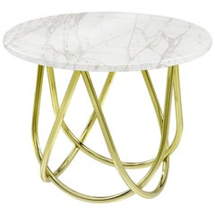 Side Table Marble White Brass Round Circular Italian Contemporary Design