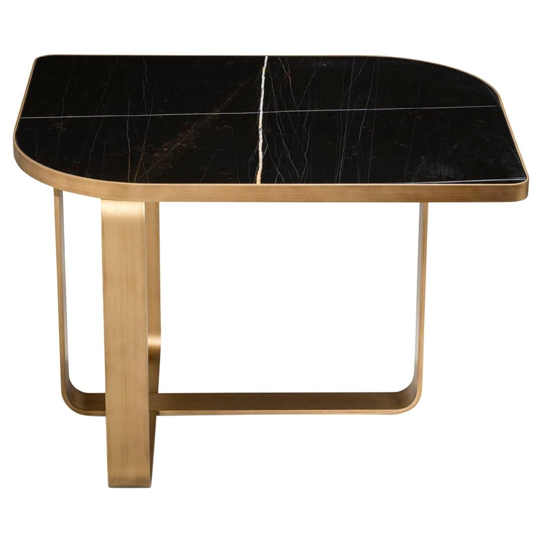 Side Table Metal Frame Top Black Aziz Marble Calacatta or Mirror Customizable