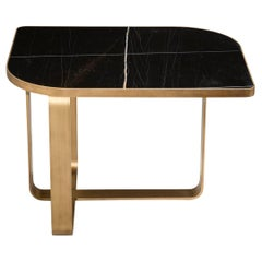 Side Table Metal Frame Top Black Aziz Marble Calacatta or Mirror Customizable