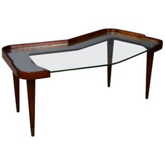 Side Table Midcentury by Osvaldo Borsani in Walnut and Mirror, 1950s