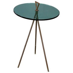 Side Table Midcentury Italian in Brass and Glass, from 1950s