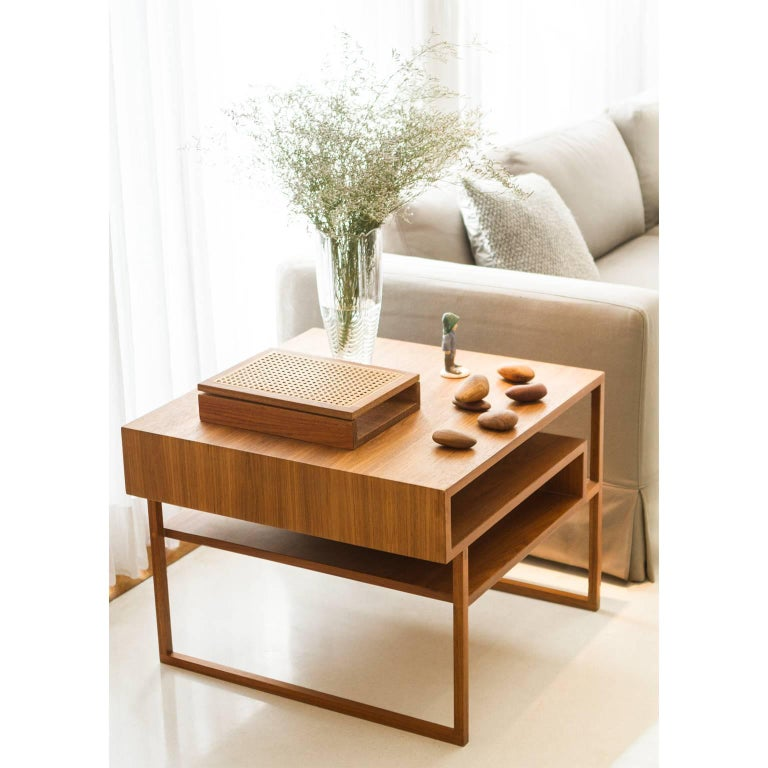 Modern Side Table Mínim Made of Tropical Wood in Brazilian Contemporary Design For Sale