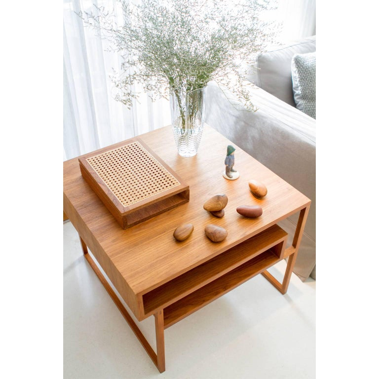 Hand-Crafted Side Table Mínim Made of Tropical Wood in Brazilian Contemporary Design For Sale